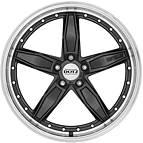 Dotz SP5 dark 8,5x19 5x112 ET45 Černý metalický lak / Leštěný límec