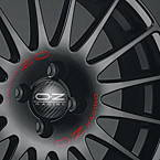 OZ SUPERTURISMO GT MB 7x16 5x105 ET35 Čierny lak / červený nápis
