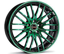 Borbet CW4 (BGG) 8x17 5x112 ET48 Zelená čelní plocha / Černý lak