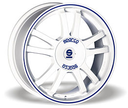 Sparco Rally (WB) 6,5x15 4x108 ET25 Biely lesk / Modrý prúžok